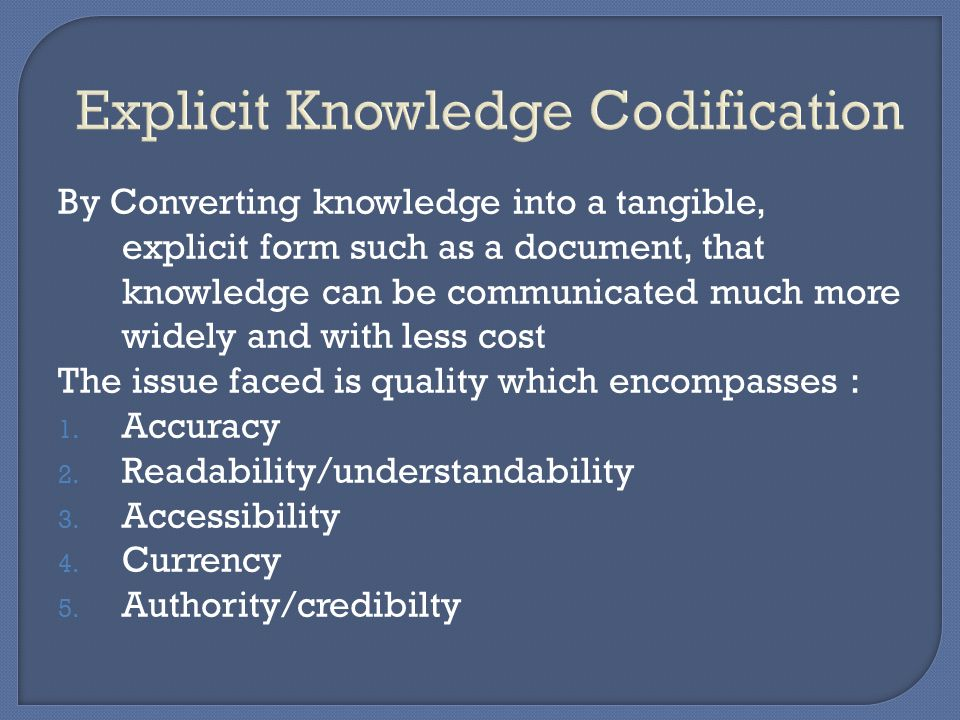 Explicit Knowledge Codification