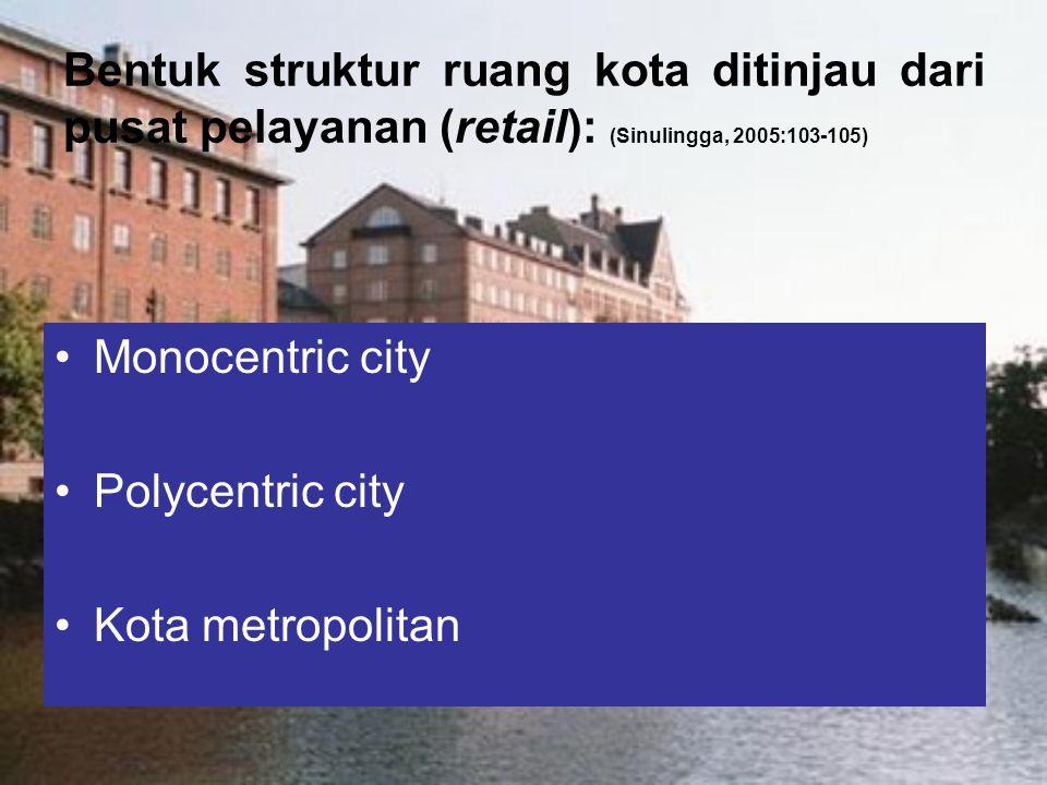 Bentuk struktur ruang kota ditinjau dari pusat pelayanan (retail): (Sinulingga, 2005:103-105)