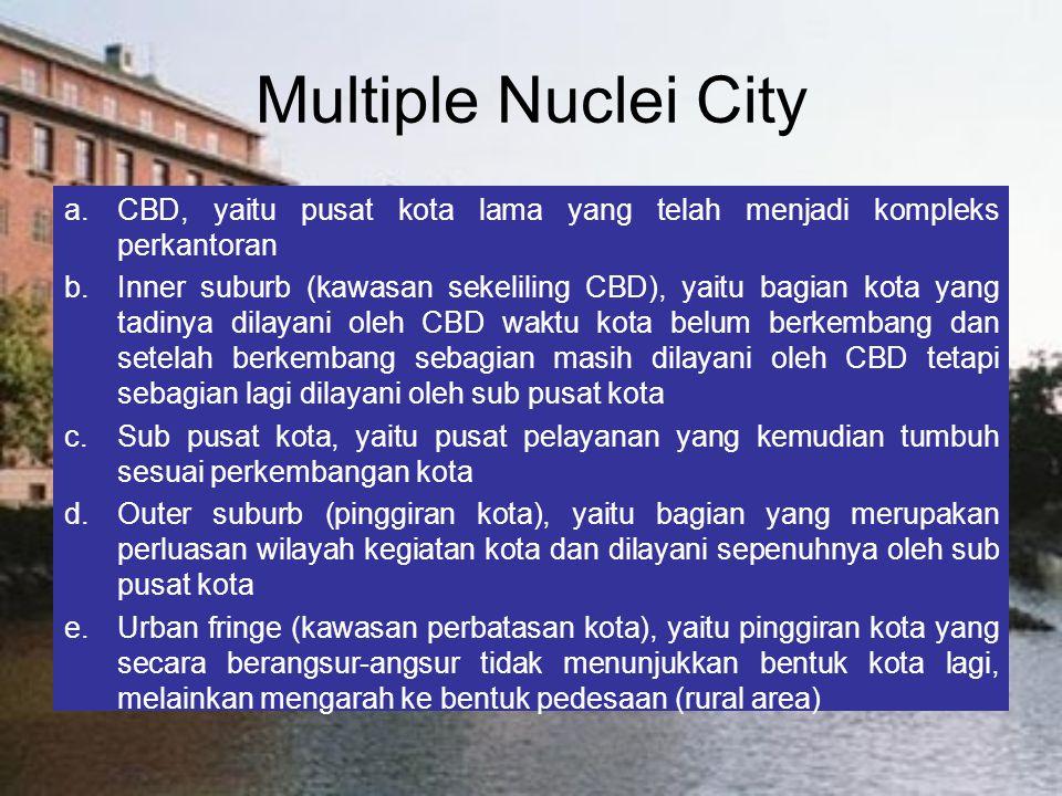 Multiple Nuclei City CBD, yaitu pusat kota lama yang telah menjadi kompleks perkantoran