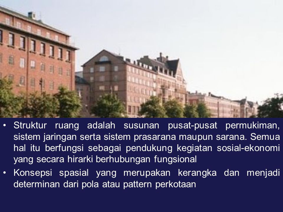 Struktur ruang adalah susunan pusat-pusat permukiman, sistem jaringan serta sistem prasarana maupun sarana. Semua hal itu berfungsi sebagai pendukung kegiatan sosial-ekonomi yang secara hirarki berhubungan fungsional