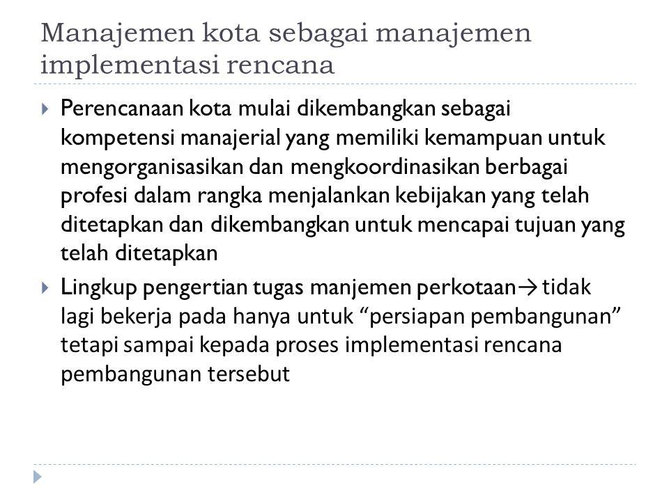 Manajemen kota sebagai manajemen implementasi rencana
