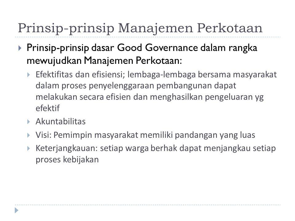 Prinsip-prinsip Manajemen Perkotaan