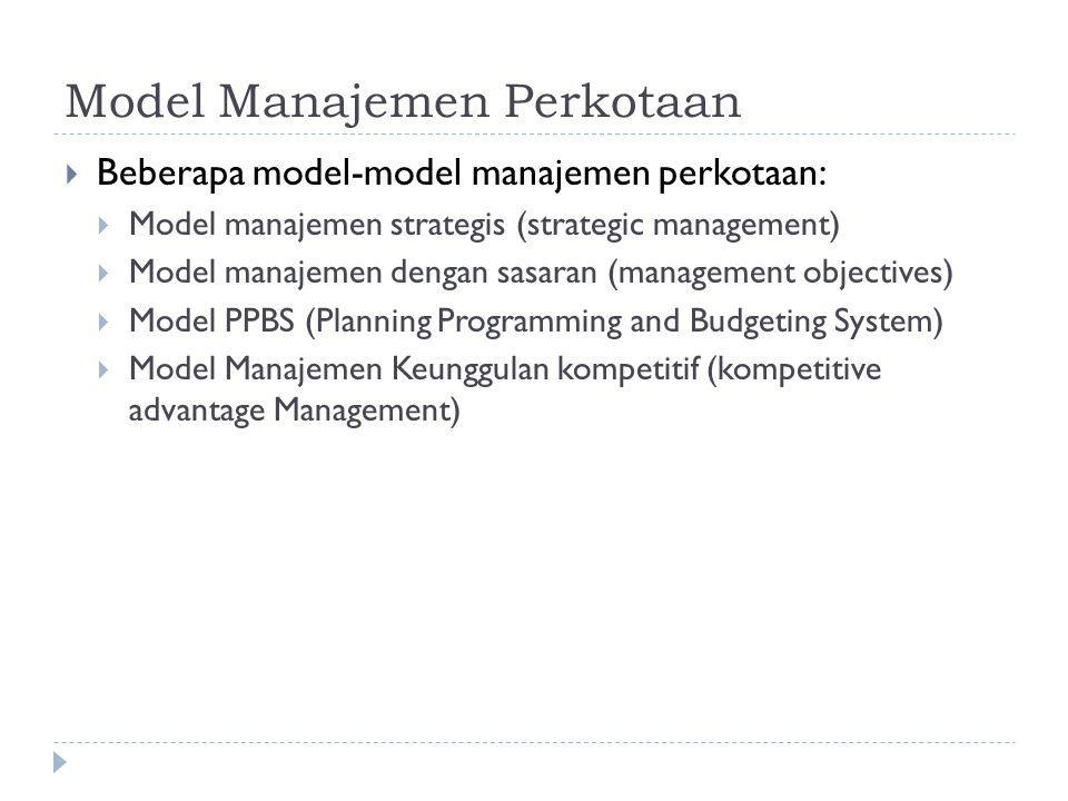 Model Manajemen Perkotaan