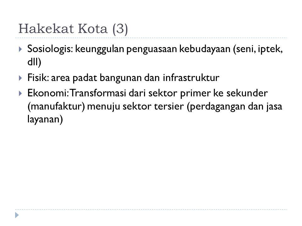 Hakekat Kota (3) Sosiologis: keunggulan penguasaan kebudayaan (seni, iptek, dll) Fisik: area padat bangunan dan infrastruktur.