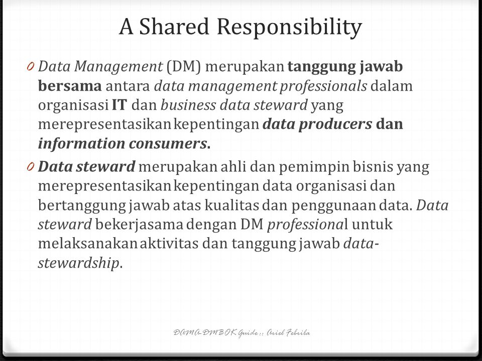 A Shared Responsibility