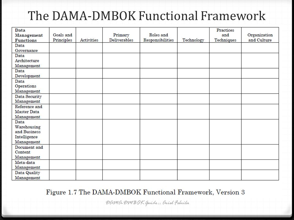The DAMA-DMBOK Functional Framework