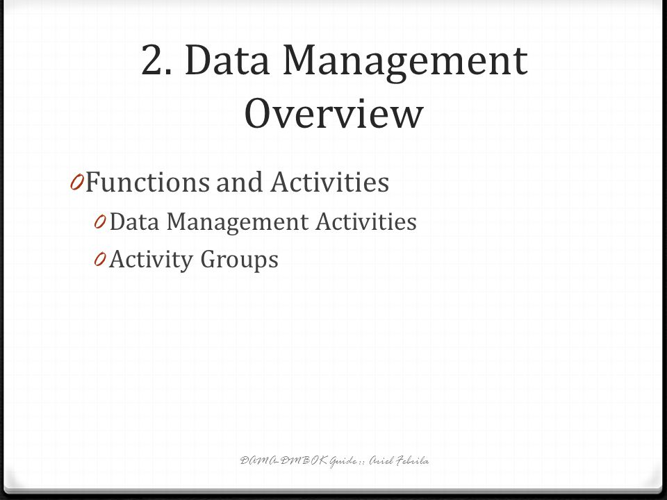 2. Data Management Overview