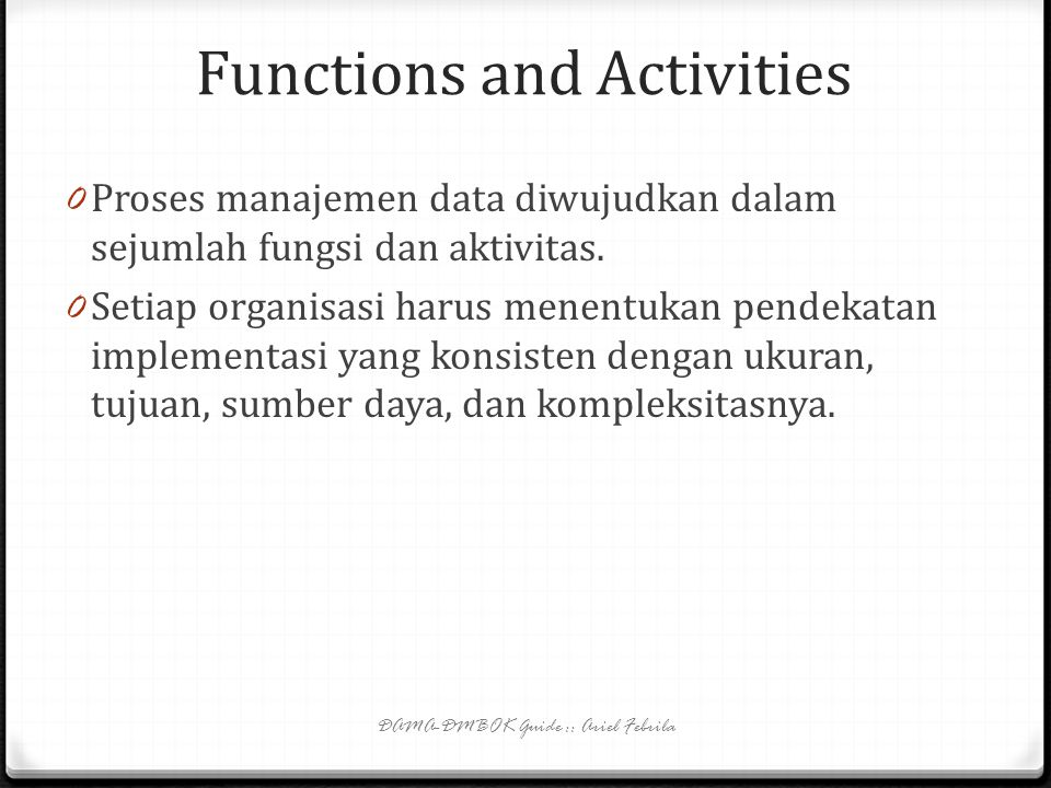 Functions and Activities