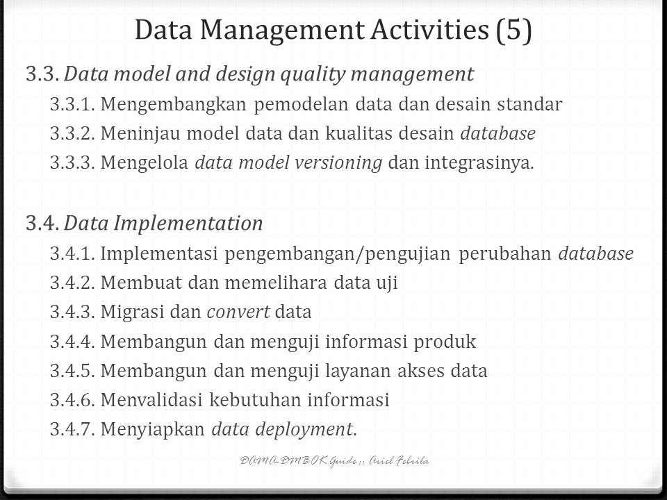Data Management Activities (5)