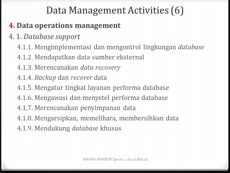Data Management Activities (6)
