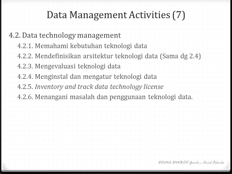 Data Management Activities (7)
