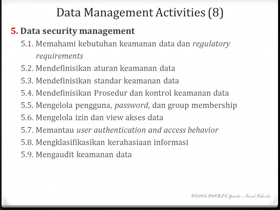 Data Management Activities (8)