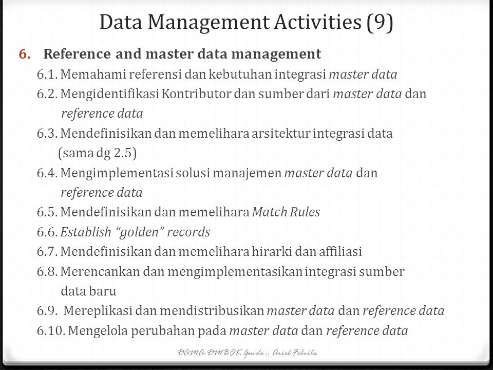 Data Management Activities (9)