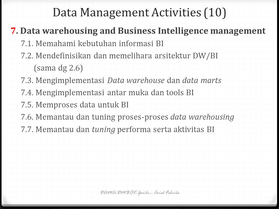 Data Management Activities (10)