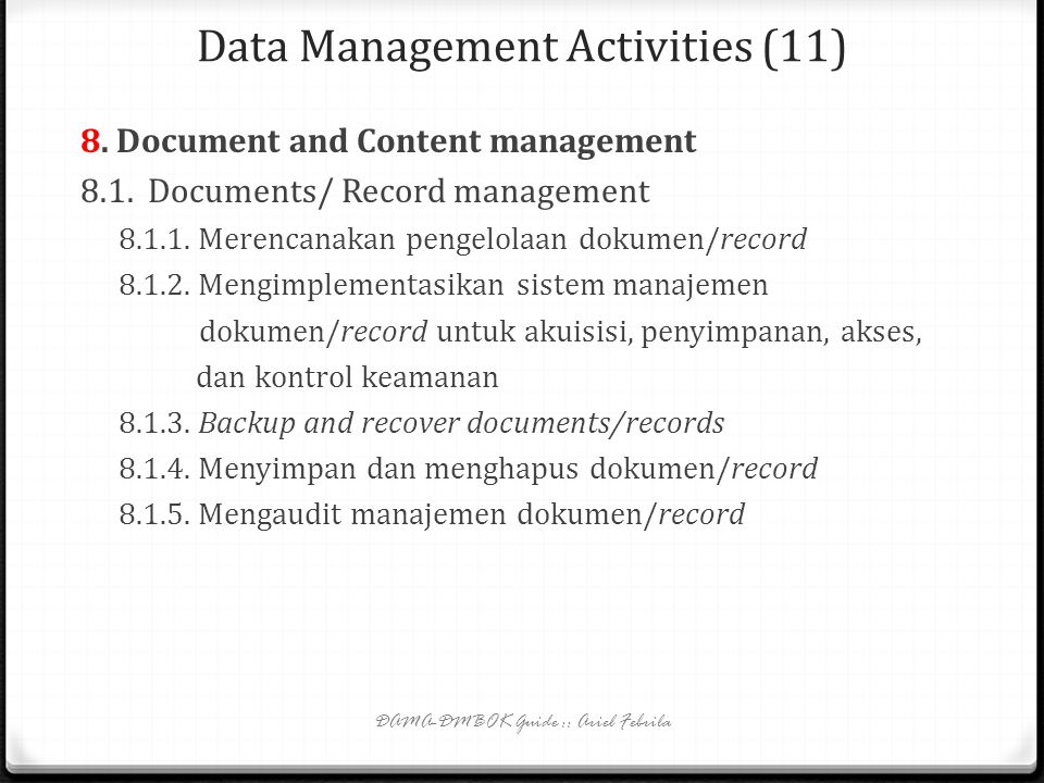Data Management Activities (11)