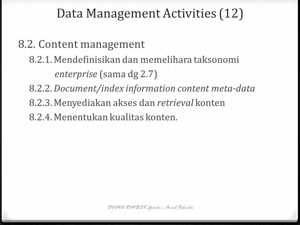 Data Management Activities (12)