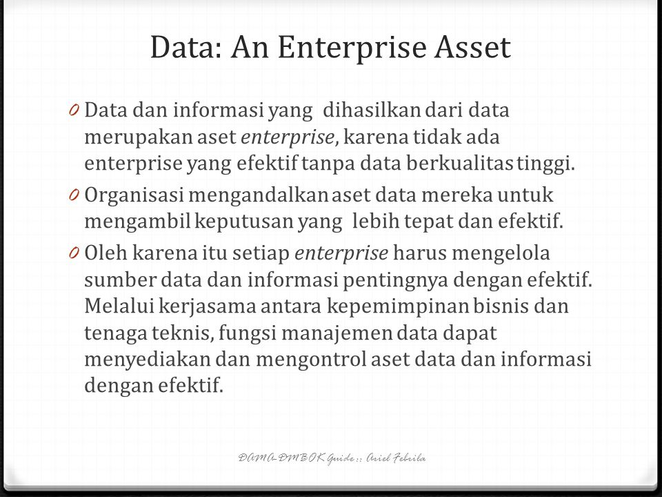 Data: An Enterprise Asset
