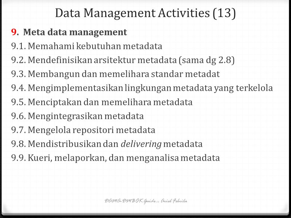 Data Management Activities (13)