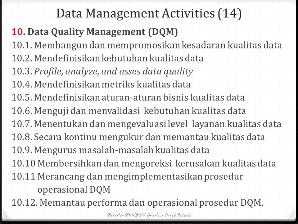 Data Management Activities (14)
