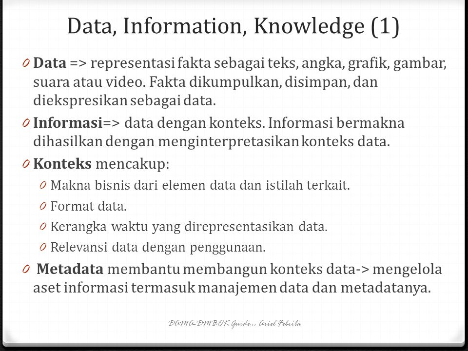 Data, Information, Knowledge (1)