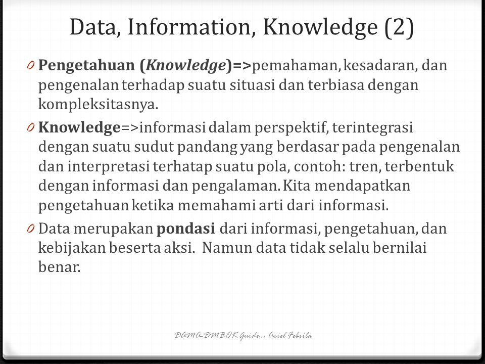 Data, Information, Knowledge (2)