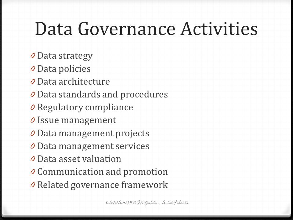 Data Governance Activities