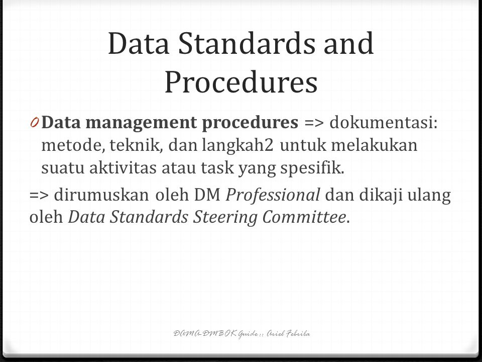 Data Standards and Procedures
