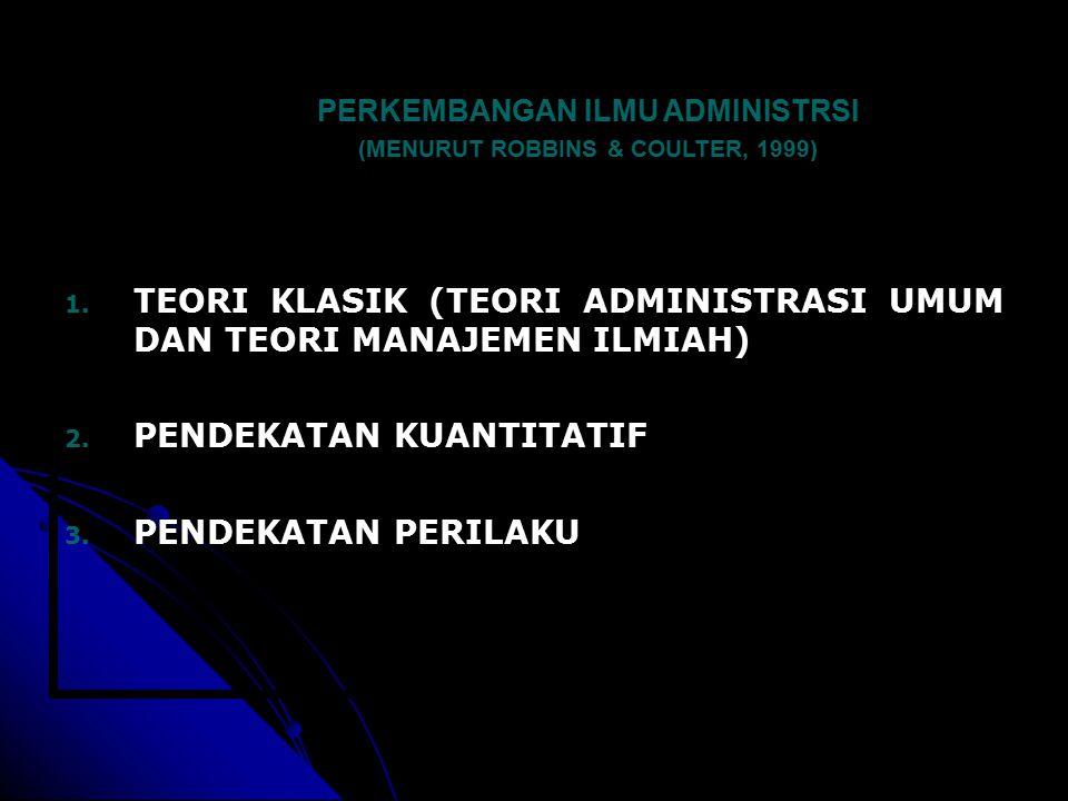 PERKEMBANGAN ILMU ADMINISTRSI (MENURUT ROBBINS & COULTER, 1999)