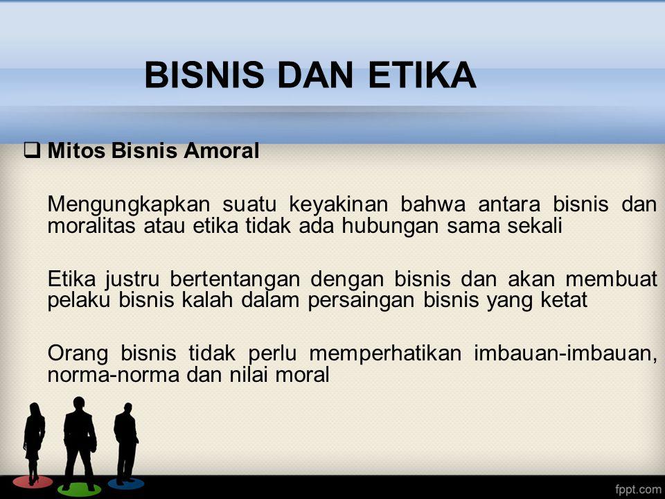 BISNIS DAN ETIKA Mitos Bisnis Amoral