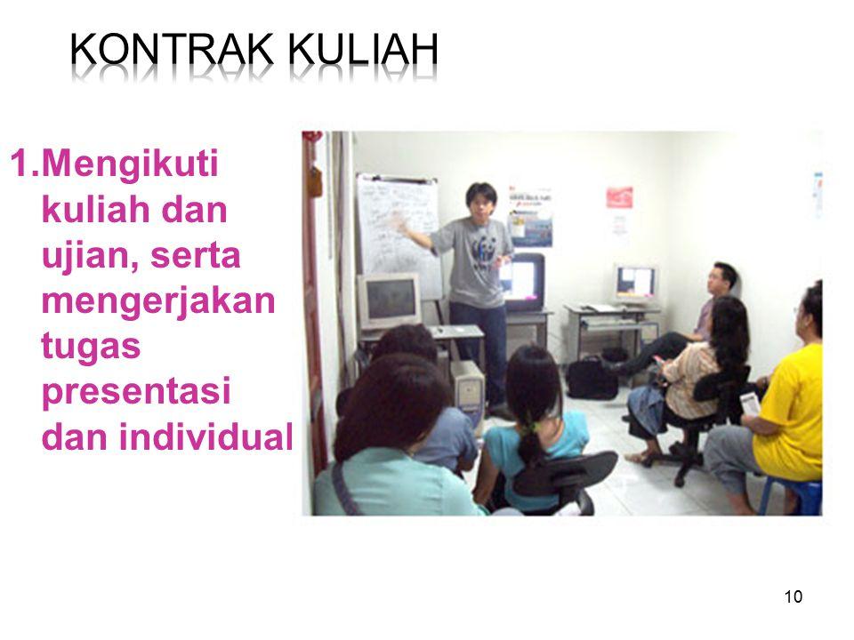 Kontrak Kuliah 1.Mengikuti kuliah dan ujian, serta mengerjakan tugas presentasi dan individual