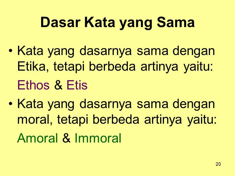 Dasar Kata yang Sama Kata yang dasarnya sama dengan Etika, tetapi berbeda artinya yaitu: Ethos & Etis.