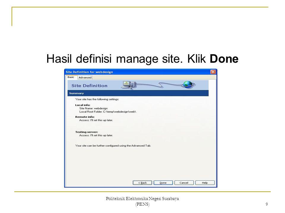 Hasil definisi manage site. Klik Done