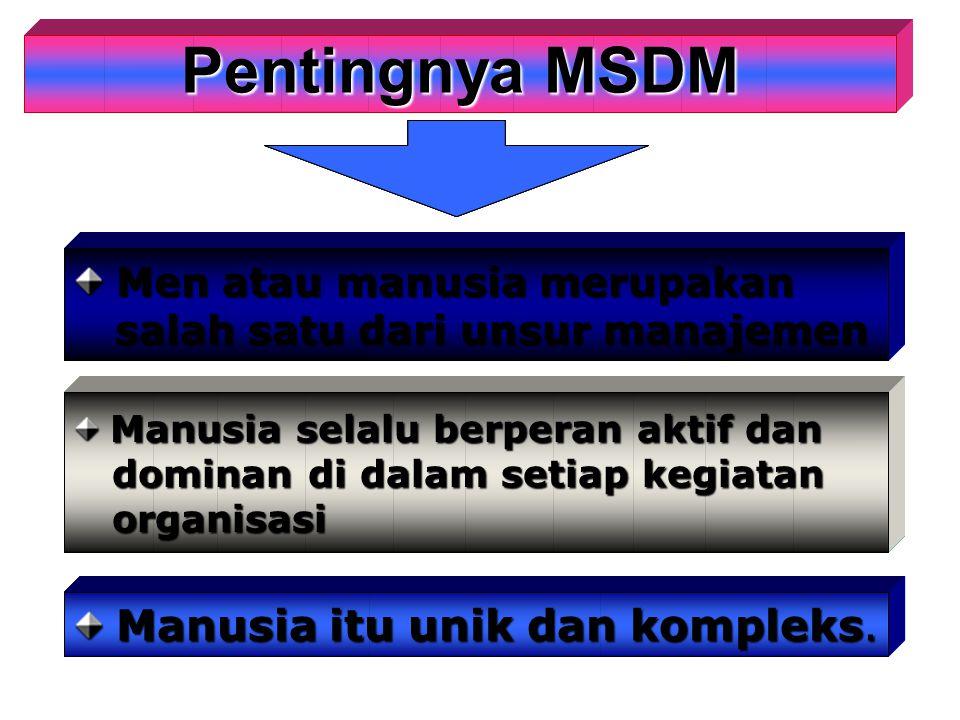 Pentingnya MSDM Pentingnya MSDM Men atau manusia merupakan