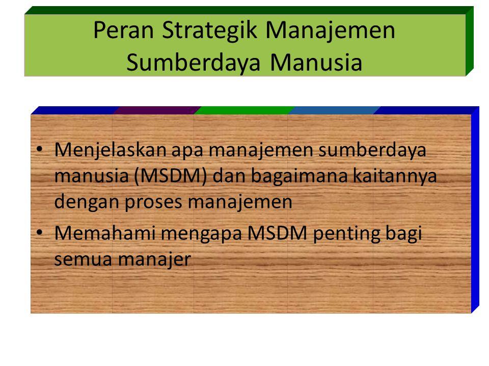 Peran Strategik Manajemen Sumberdaya Manusia