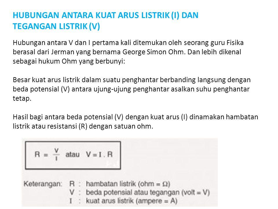 HUBUNGAN ANTARA KUAT ARUS LISTRIK (I) DAN TEGANGAN LISTRIK (V)