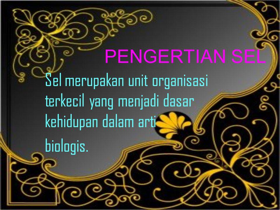 PENGERTIAN SEL Sel merupakan unit organisasi terkecil yang menjadi dasar kehidupan dalam arti.