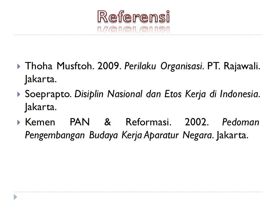 Referensi Thoha Musftoh. 2009. Perilaku Organisasi. PT. Rajawali. Jakarta. Soeprapto. Disiplin Nasional dan Etos Kerja di Indonesia. Jakarta.