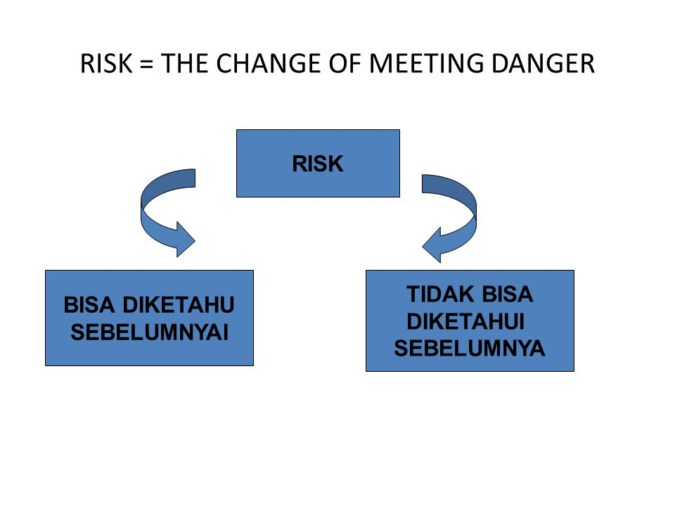 RISK = THE CHANGE OF MEETING DANGER