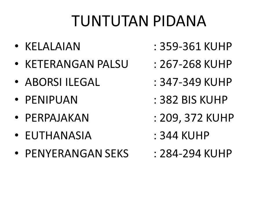 TUNTUTAN PIDANA KELALAIAN : 359-361 KUHP