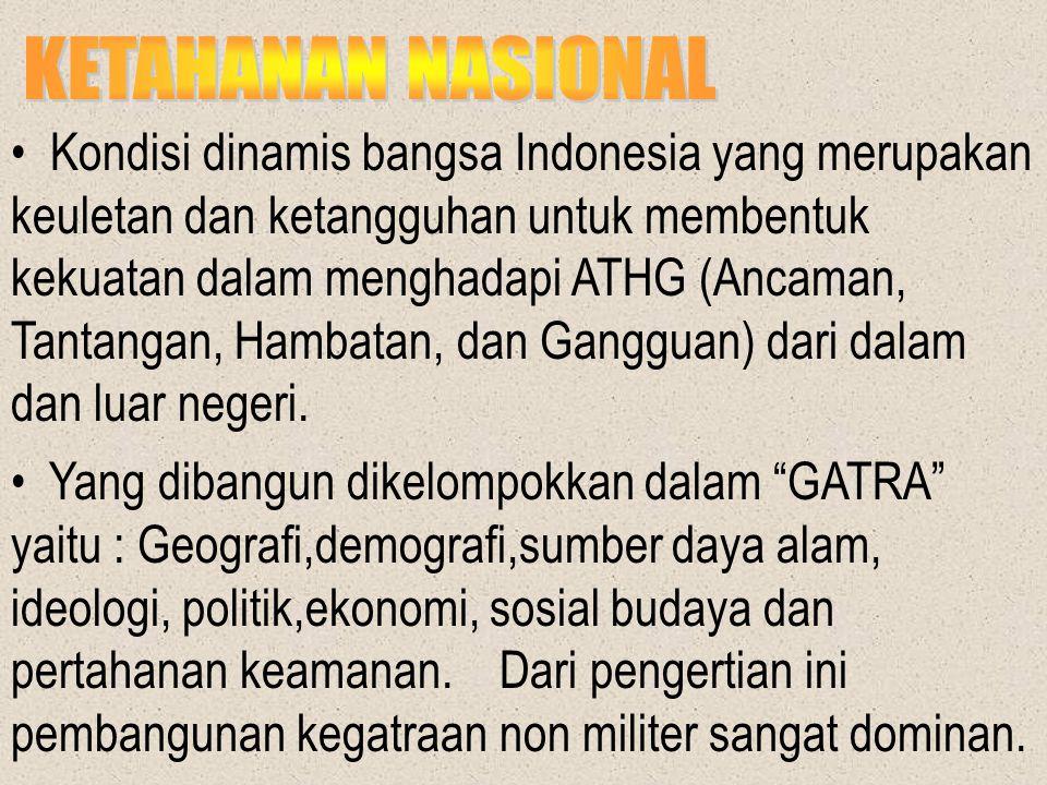 KETAHANAN NASIONAL Kondisi dinamis bangsa Indonesia yang merupakan.