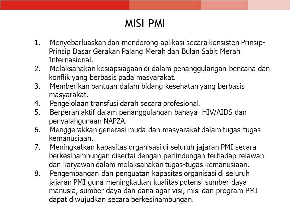 MISI PMI Menyebarluaskan dan mendorong aplikasi secara konsisten Prinsip- Prinsip Dasar Gerakan Palang Merah dan Bulan Sabit Merah Internasional.