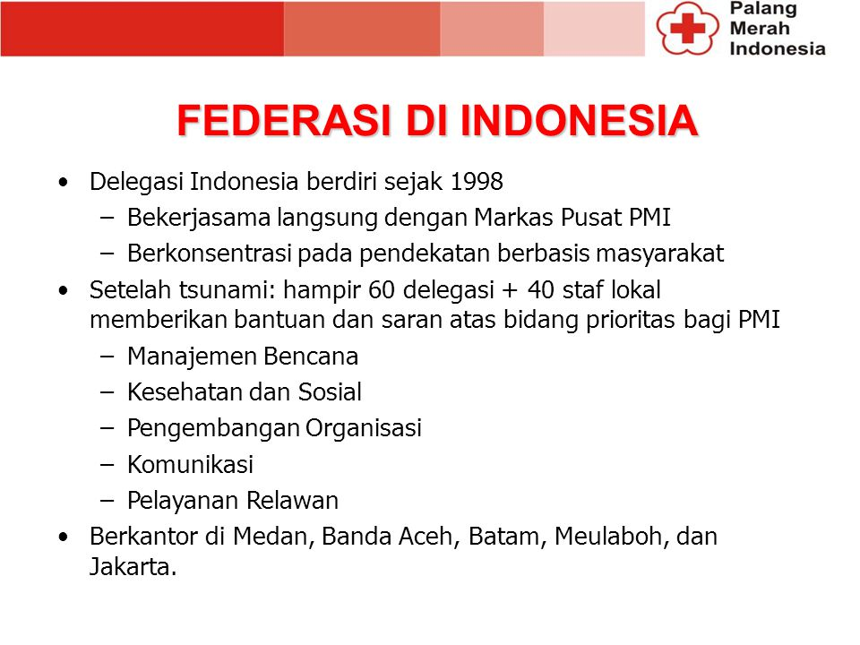 FEDERASI DI INDONESIA Delegasi Indonesia berdiri sejak 1998