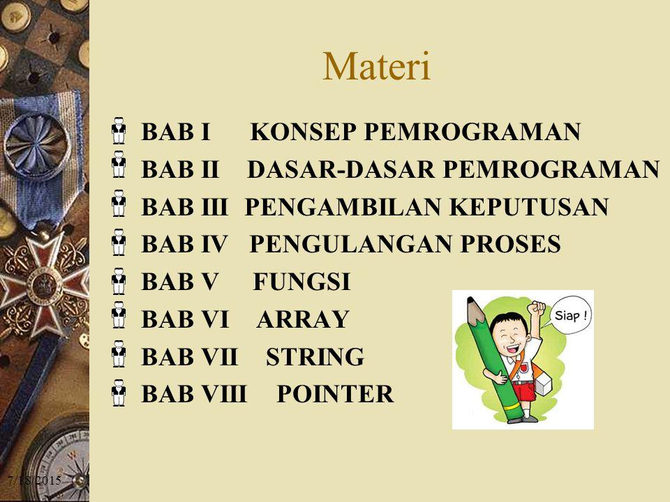Materi BAB I KONSEP PEMROGRAMAN BAB II DASAR-DASAR PEMROGRAMAN