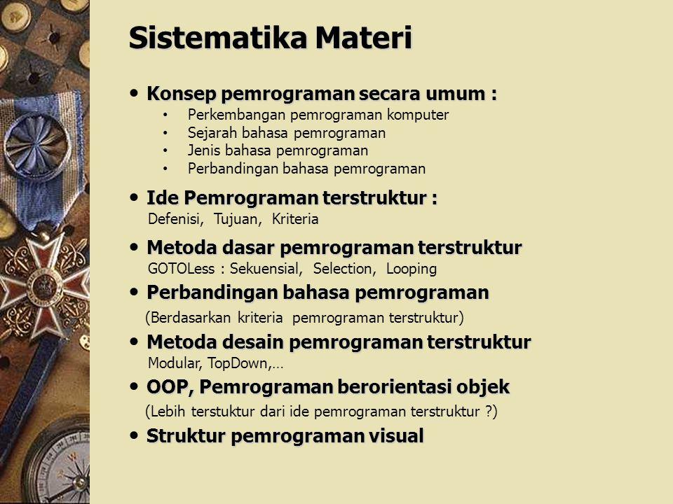 Sistematika Materi Konsep pemrograman secara umum :