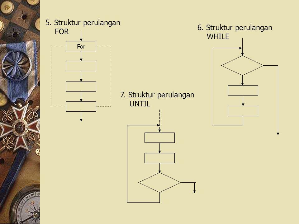 5. Struktur perulangan FOR 6. Struktur perulangan WHILE