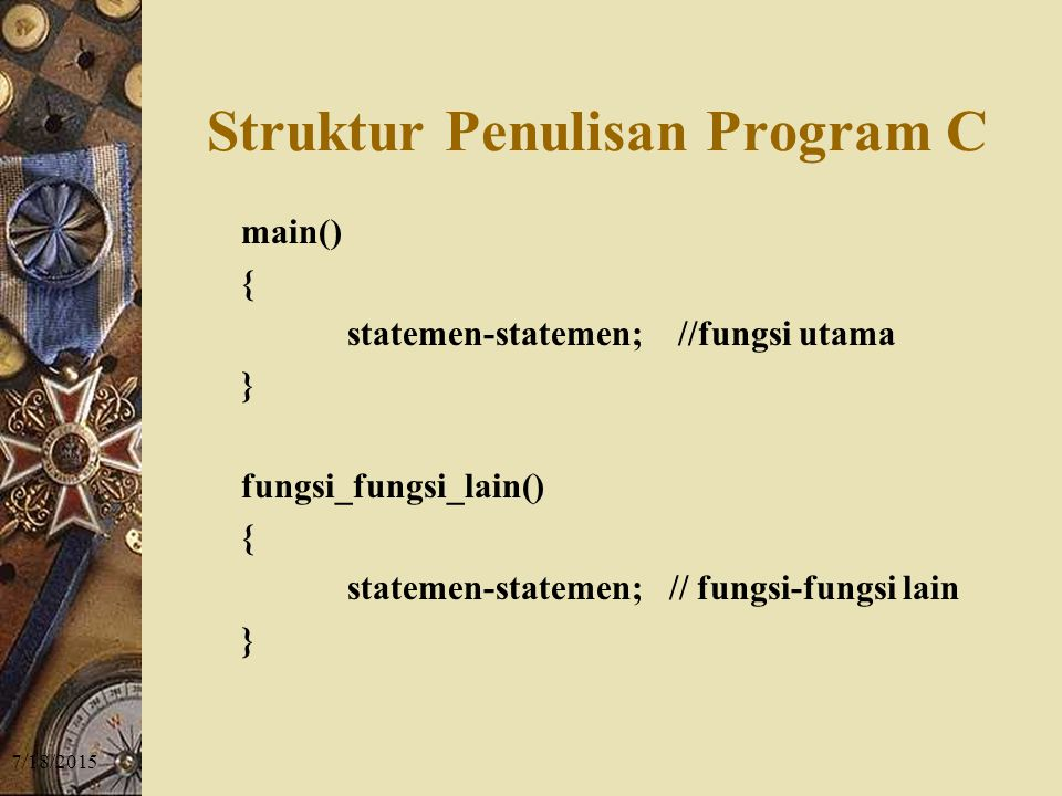 Struktur Penulisan Program C