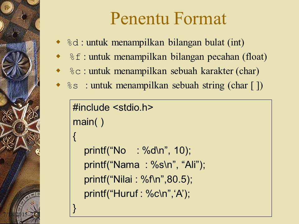 Penentu Format %d : untuk menampilkan bilangan bulat (int)