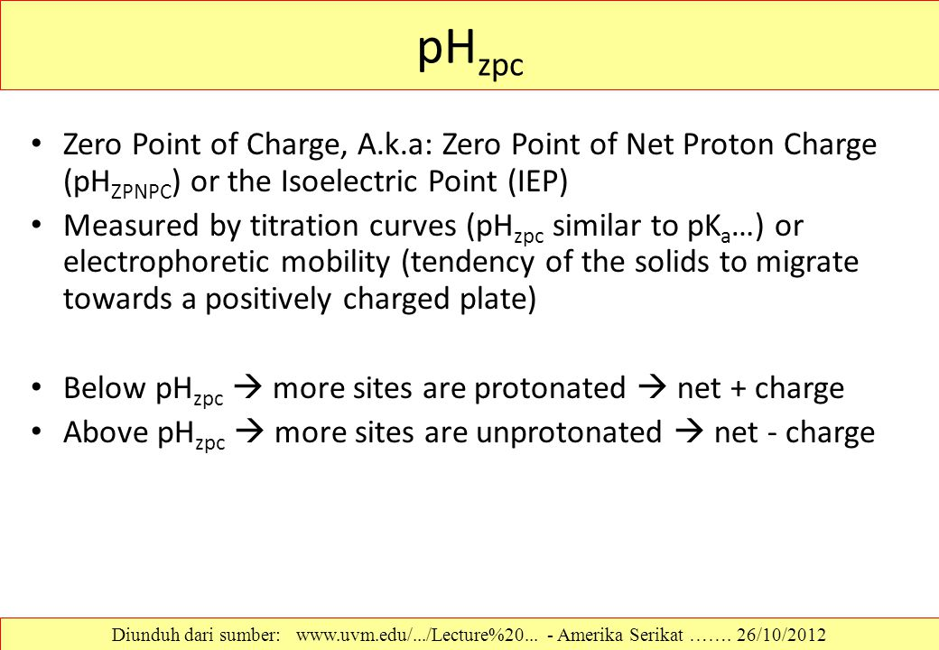 pHzpc Zero Point of Charge, A.k.a: Zero Point of Net Proton Charge (pHZPNPC) or the Isoelectric Point (IEP)