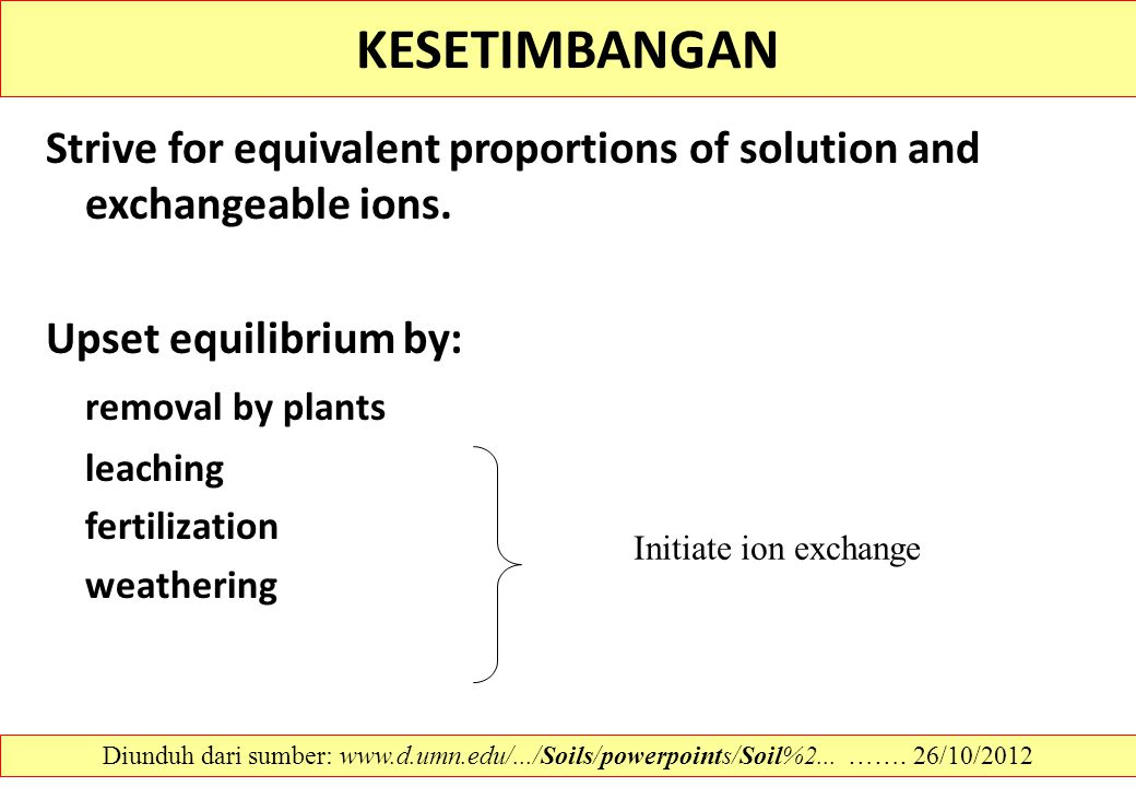 KESETIMBANGAN Strive for equivalent proportions of solution and exchangeable ions. Upset equilibrium by: