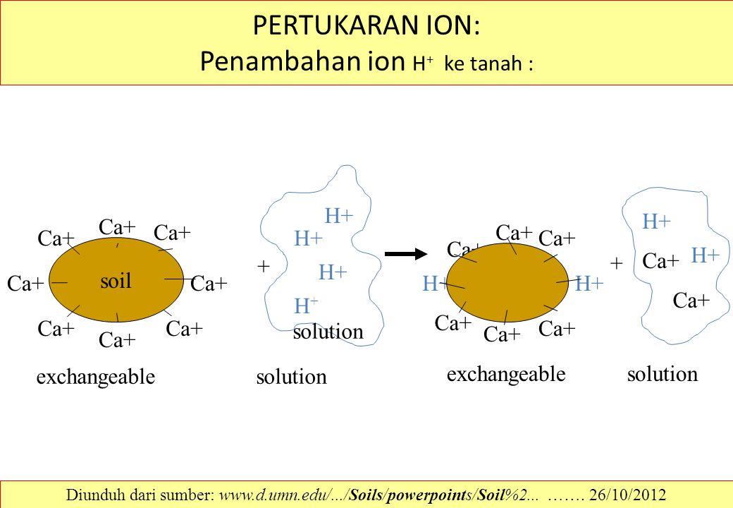 PERTUKARAN ION: Penambahan ion H+ ke tanah :